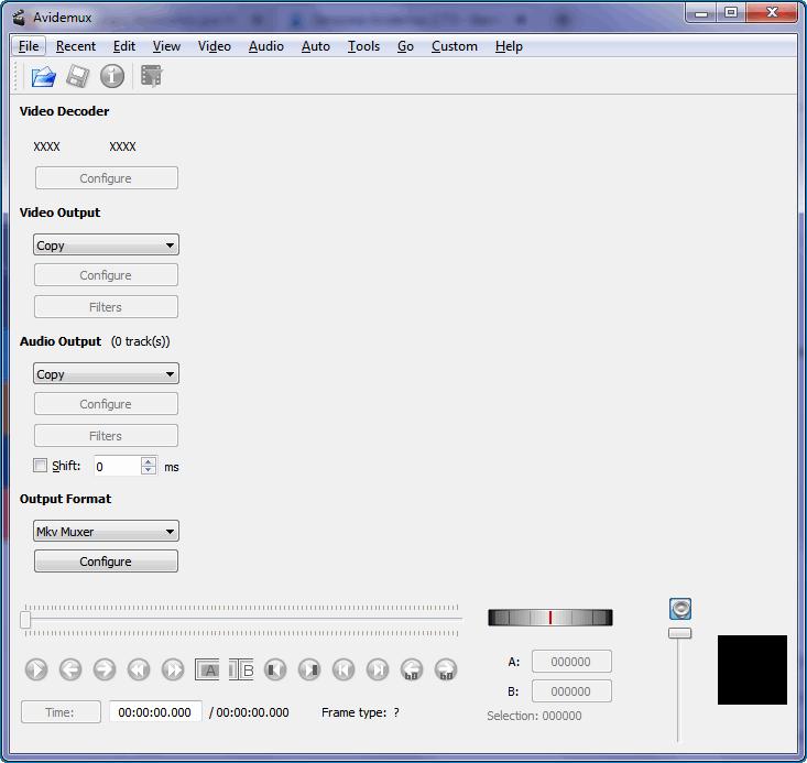 Интерфейс Avidemux 1