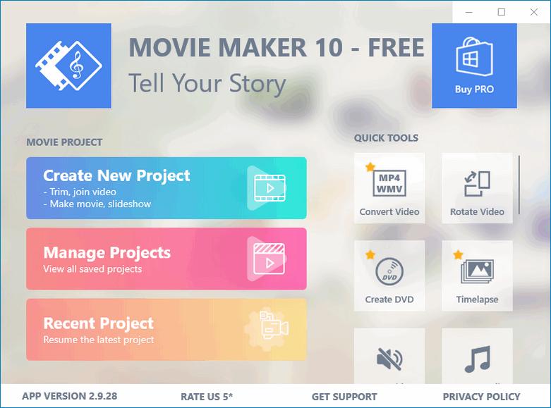 Рабочий стол программы Movie Maker Free
